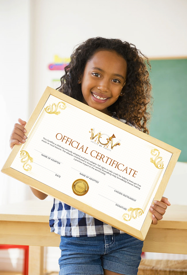 kid hold certificate
